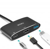 Переходник Thunderbolt 3 USB-C to HDMI/USB-C/USB 3.0 WiWU Apollo Серый - 1
